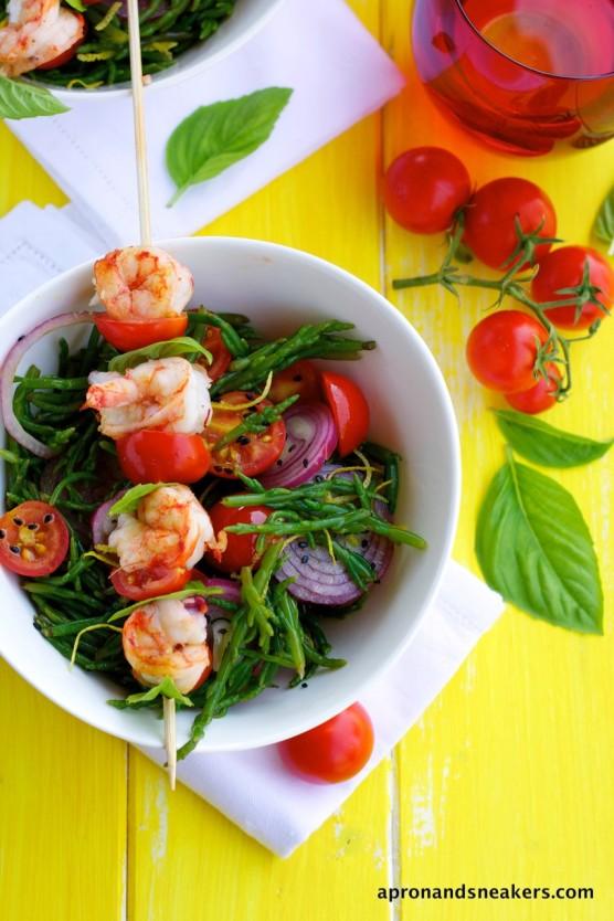 Sea Asparagus Salad with Grilled Shrimp Skewers (1)