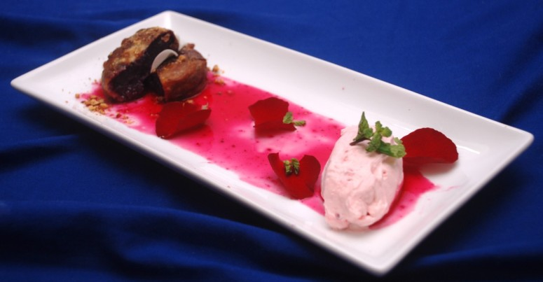 thumbnail_Purple Passion - Ube Maruya with a  Rose Cheesecake  Quenelle and Strawberry Rose Syrup 2