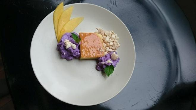 Oxtail-Coconut Leche Flan with Ube Cream